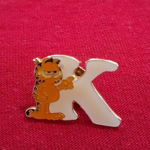 Small Garfield Initial K Pin or Brooch Vintage